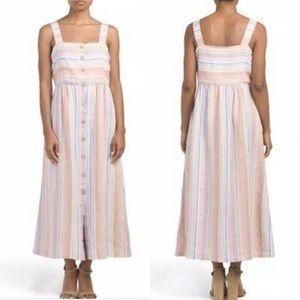 C&C California Linen Striped Maxi Sleeveless Dress